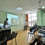 Training in a modern seminar room