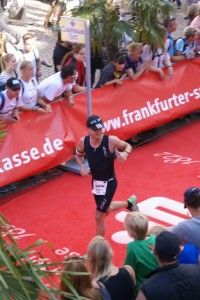 Finally! Reaching the finish line after 42 km of running
