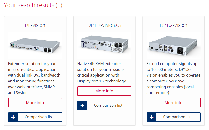 Search results of the product filter: three different KVM extender systems