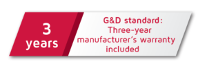 G&D default warranty: three years
