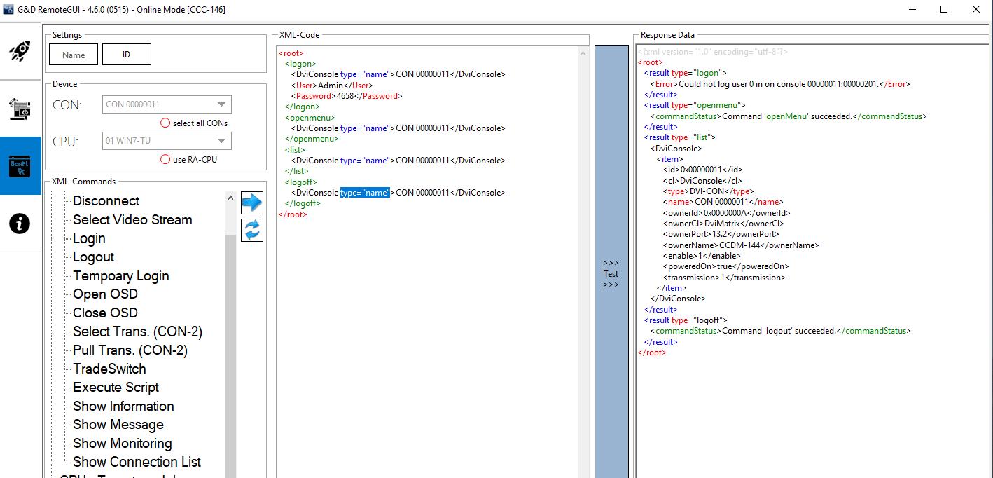 Left side: XML commands entered, right side: XML commands tested