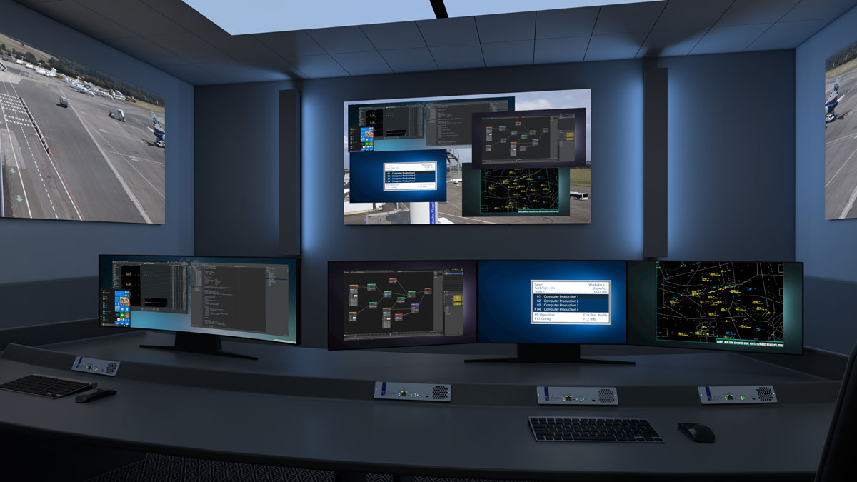 ControlCenter-Xperience with two workplaces equipped with two and three monitors each in front of a large video wall