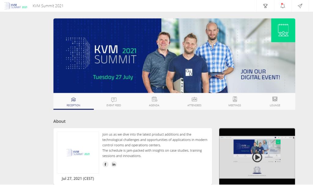 Online platform for KVM Summit including different menus