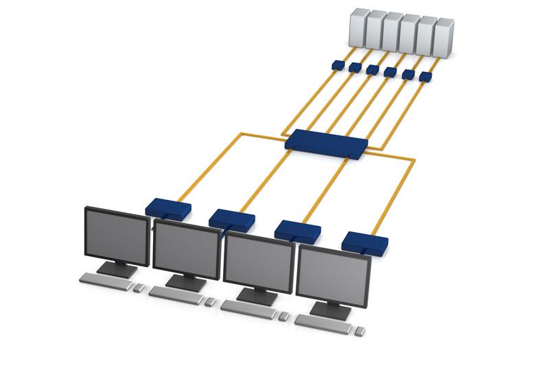 Aufgebautes KVM-Matrixswitch-System