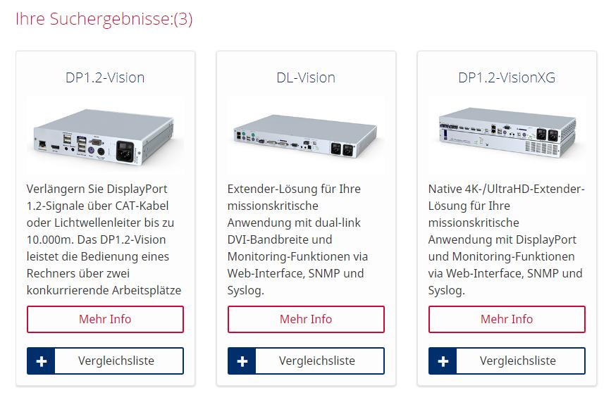 Suchergebnis des Produktfilters: drei verschiedenen KVM-Extender-Systeme