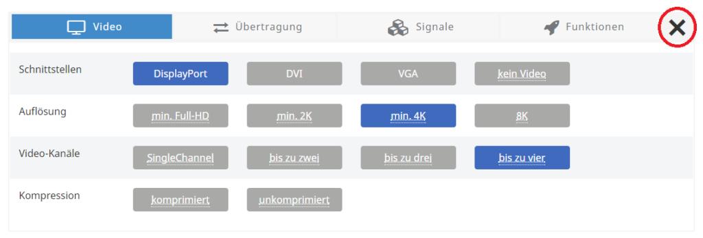Eine neue Suche starten Sie im Produktfilter mit einem Klick auf das X-Icon