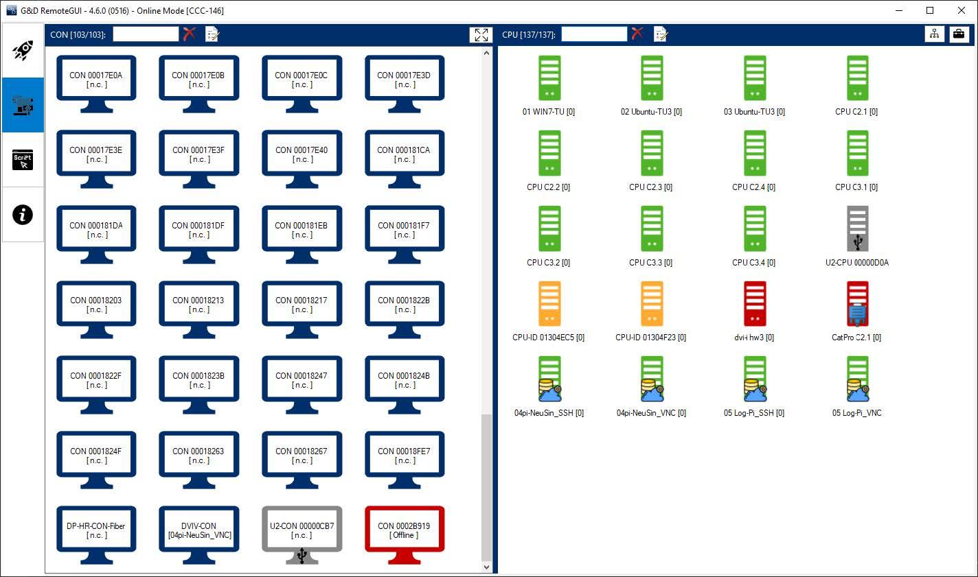 RemoteGUI: Übersicht aller CON- und CPU-Module, dargestellt in verschiedenen Farben, die auf den Stauts der Module hinweisen